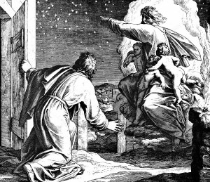 "God Shows Abraham the Stars, by Julius Schnorr von Carolsfeld, c. 1851-60. Woodcut for ""Die Bibel in Bildern,"" 1860."