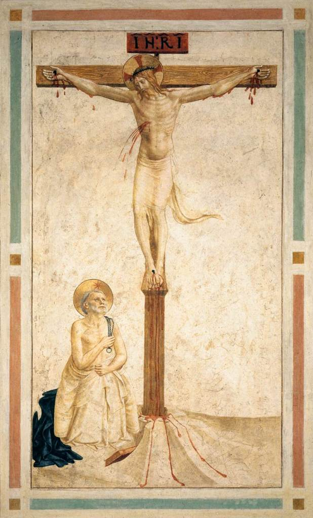 Crucifixion with Saint Dominic in Mortification, by Fra Angelico, c. 15th century. Convento di San Marco (cell 20), Florence, Italy.