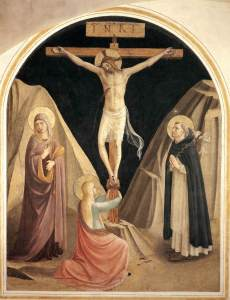 Crucifixion with Saints, by Fra Angelico, c. 15th century. Convento di San Marco (cell 25), Florence, Italy.