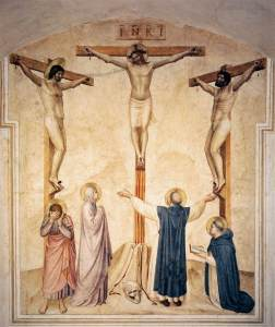 Crucifixion with Saints, by Fra Angelico, c. 15th century. Convento di San Marco (cell 37), Florence, Italy.