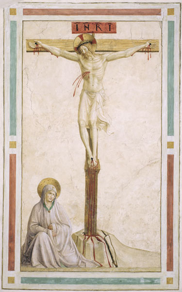 Crucifixion with Virgin Mary, by Fra Angelico, c. 15th century. Convento di San Marco (cell 22), Florence, Italy.