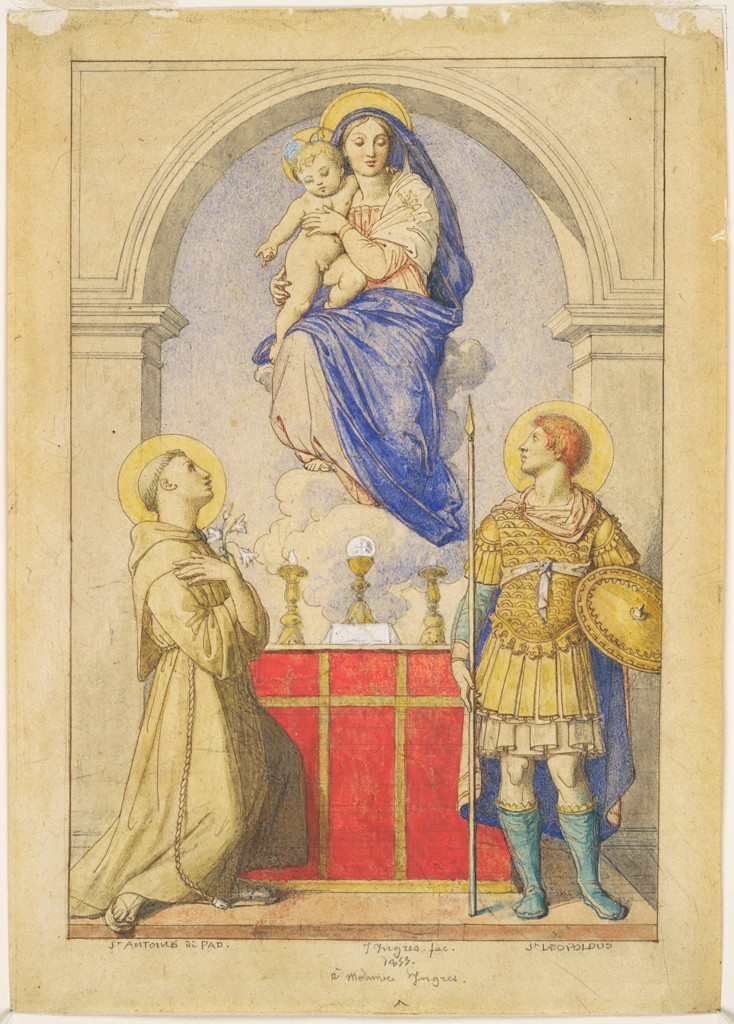 The Virgin and Child Appearing to Saints Anthony of Padua and Leopold of Carinthia, by Jean Auguste Dominique Ingres, c. 1855. Fogg Museum, Cambridge, Massachusetts, United States.