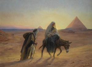 Flight into Egypt, by Eugène Girardet, c. 19th century. Private collection.
