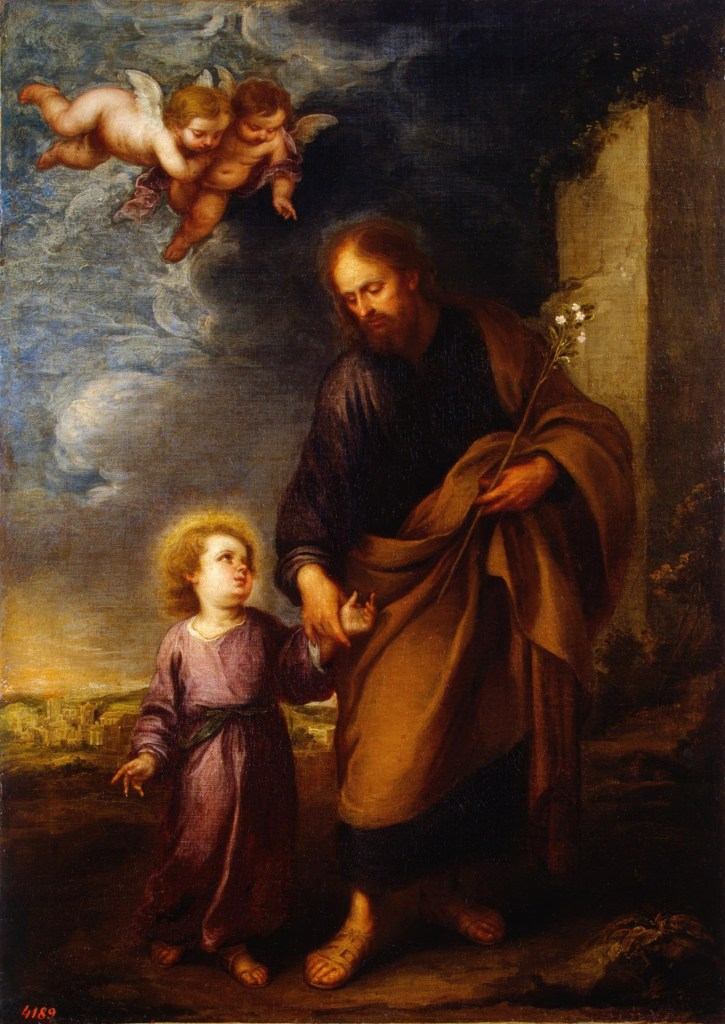 St Joseph Leading the Christ Child, by Bartolomé Esteban Murillo, c. 1670s. Hermitage Museum, St. Petersburg, Russia.