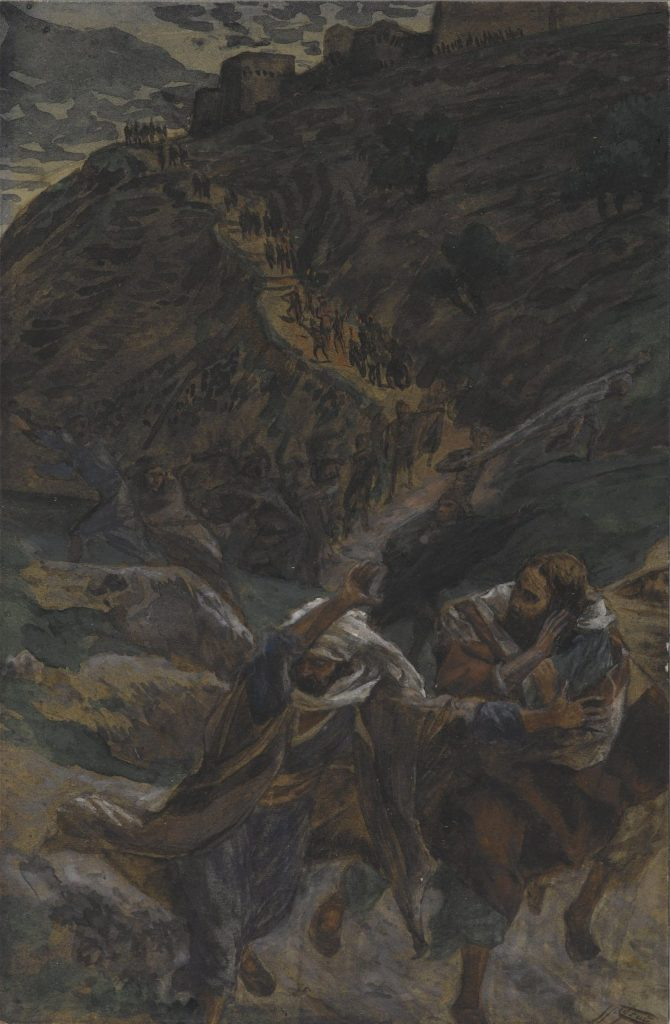 The Flight of the Apostles, by James Tissot, c. 1886-94. Brooklyn Museum, New York, New York, United States.