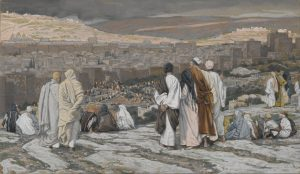 The Disciples Having Left Their Hiding Place Watch from Afar in Agony, by James Tissot, c. 1886-94. Brooklyn Museum, New York, New York, United States.