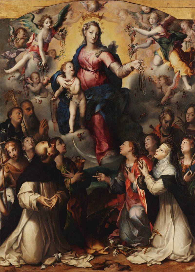 The Madonna of the Rosary, by Dirk Herndricksz, c. 1578. Museo e Real Bosco di Capodimonte, Napoli, Italy.