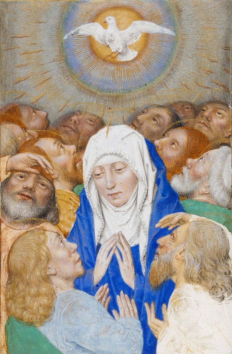 Pentecost Showing the Virgin Surrounded by Twelve Apostles, by Simon Marmion, c. 1480s. The Fitzwilliam Museum, Cambridge, United Kingdom.