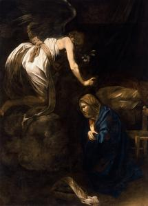 Annunciation, by Caravaggio, c. 1608-10. Museum of Fine Arts of Nancy, Nancy, France.