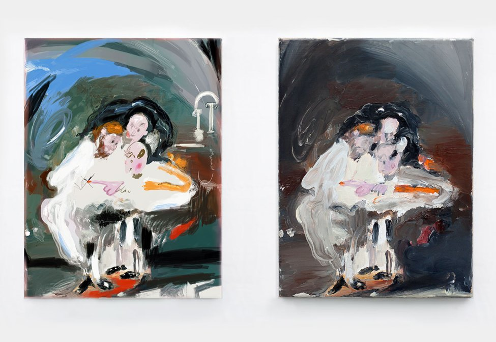 Doubting Thomas (after Caravaggio, 2012. Left: c-print and acrylics on paper, 41 x 31 cm. Right: oil on canvas, 40 x 30 cm, 2012