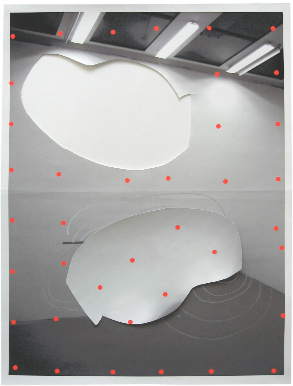 What if the wall, photo print, cut-out, acrylic marker & fluorescent stickers, 62 x 47 cm, 2006