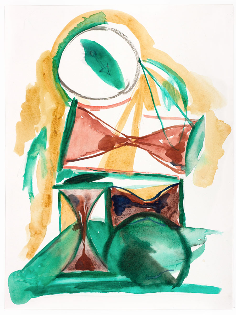 Untitled (Hourglass), 41× 31 cm. Gouache, pencil and watercolor on paper, 2016