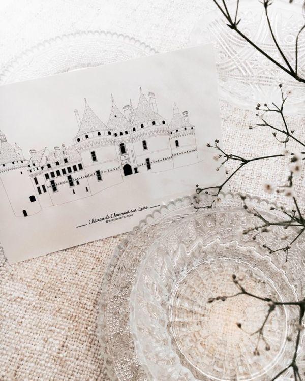 Illustration_chateau_de_chaumont_sur_loire_par_anne_létondot_illustration_de_patrimoine_eshop
