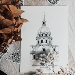 Illustration de patrimoine st louis des invalides affiche monument parisien patrimoine religieux cathédrale catholique_ (3)