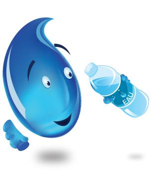 Goutte d'eau qui boit