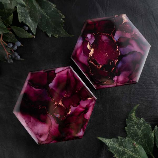 Illyra Collection Elysium Carrara Marble Coasters in Aubergine