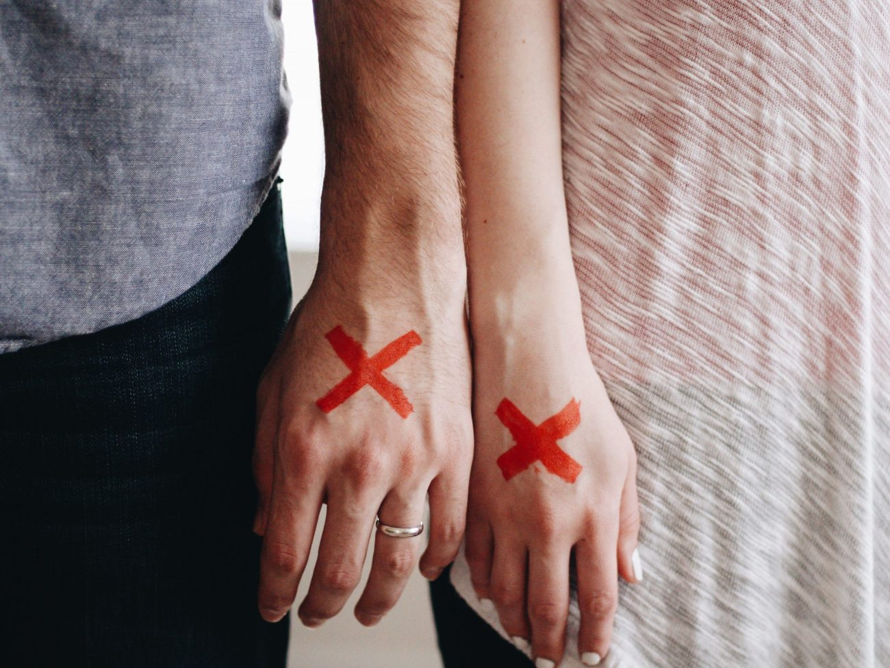 hands, couple, red x