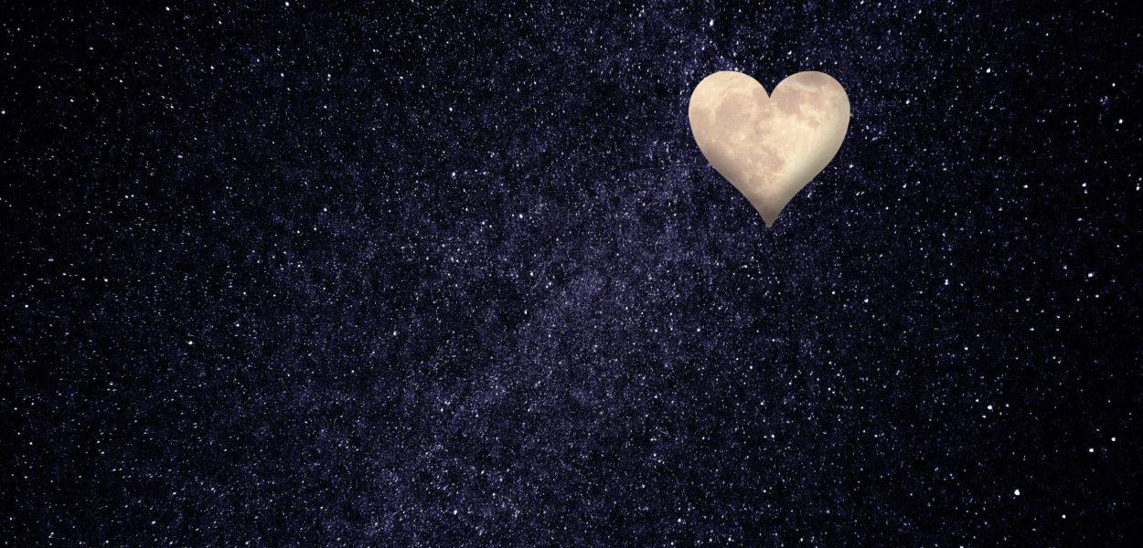 heart, moon, night sky