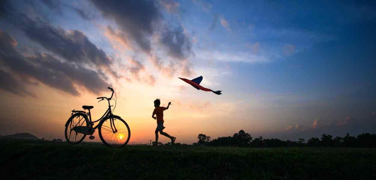 field, child, bike