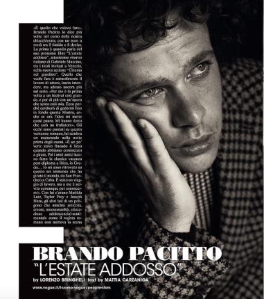From Lorenzo's Instagram: Brando Pacitto for L'uomo Vogue