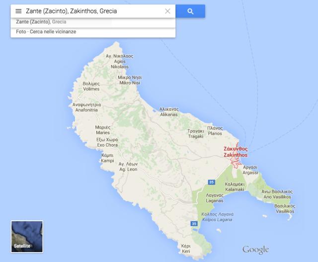isola di zakynthos cartina