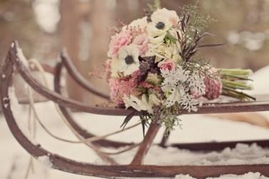 real flower petal confetti winter weddings ski snow sleigh sledge decorations