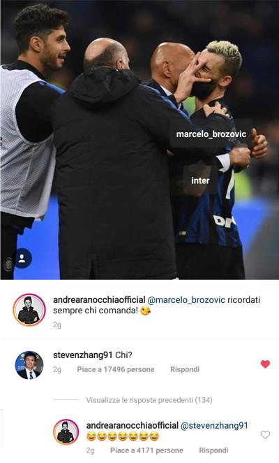 Ranocchia e Zhang su Instagram