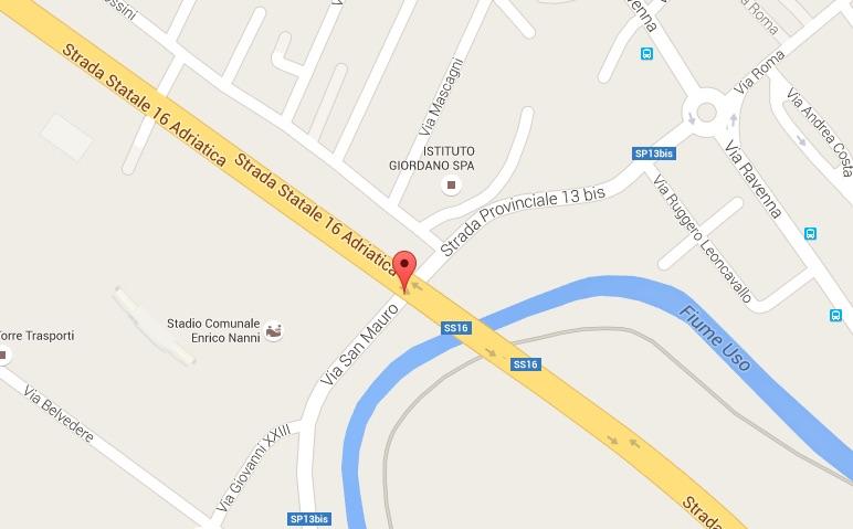 """Nella cartina, desunta dalla diffusissima cartografia di google map, in evidenza al centro dell'immagine la dicitura """"via San Mauro  Strada Provinciale 13 bis""""."""