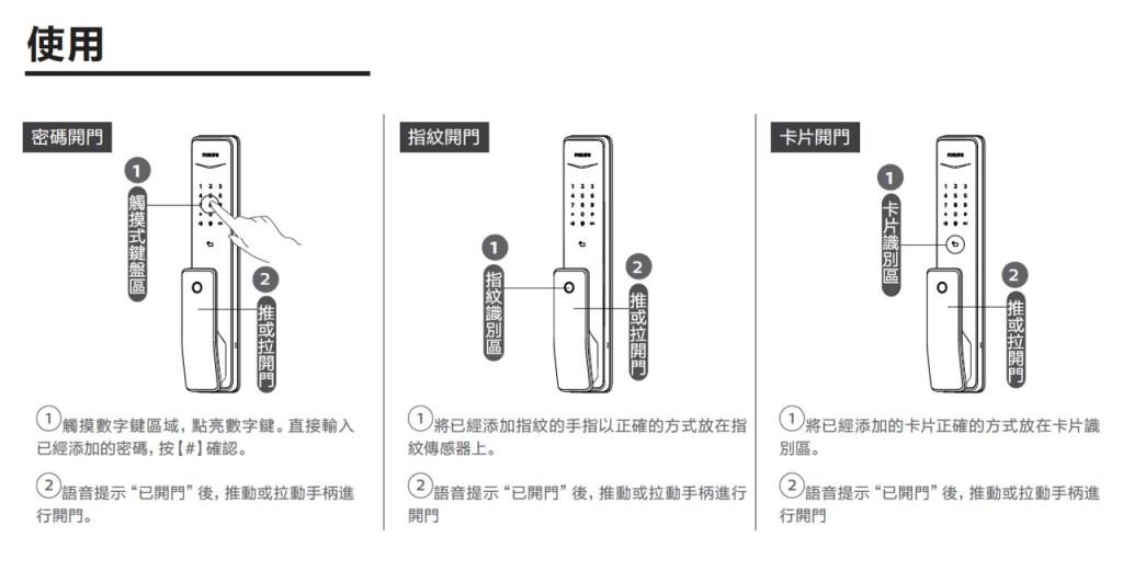 飛利浦電子鎖說明書 快速使用指南7
