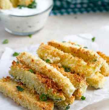 Crunchy zucchini sticks topped with green onion.