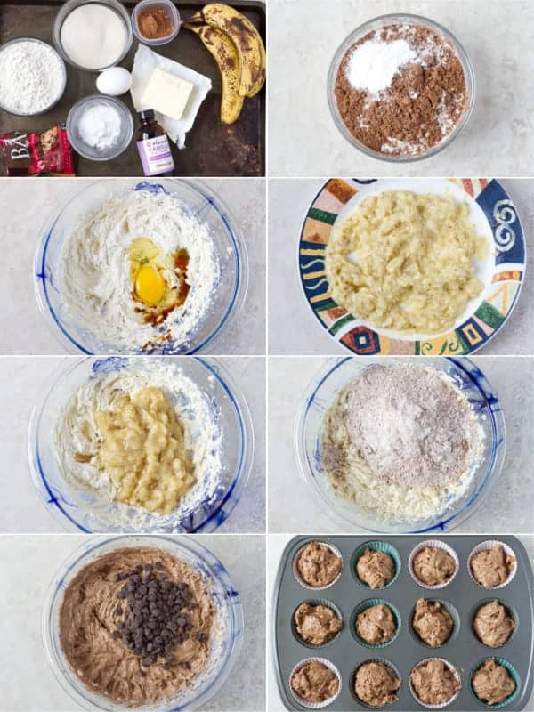 Step by step photos on how to prepare chocolate banana muffins for baking.