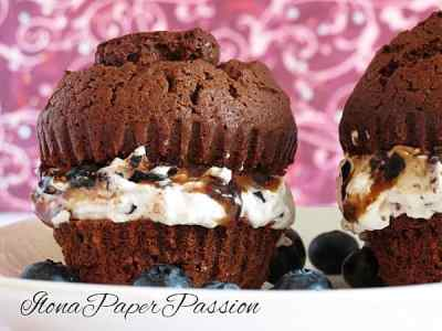 Original Chocolate Muffins with sweet blueberry whipped cream by ilonaspassion.com