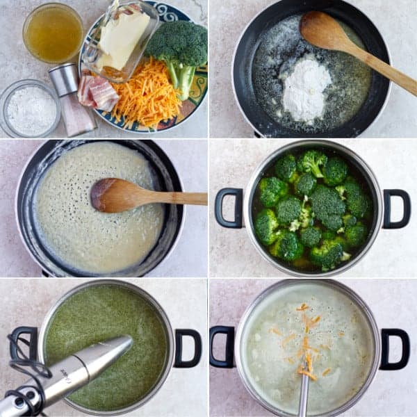 Step by step recipe how to make creamy soups with cheese and broccoli florets.