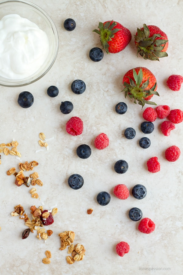 Strawberries, raspberries, blueberries and granola.