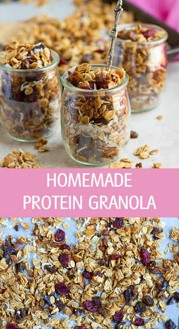 Protein granola made with egg whites topped with dried fruits and coconut.