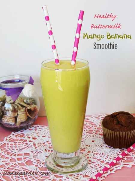Healthy Buttermilk Mango Smoothie by ilonaspassion.com