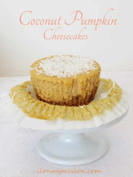 Coconut Pumpkin Cheesecakes by ilonaspassion.com