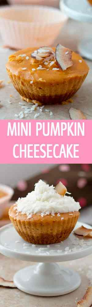 Graham cracker crust mini pumpkin cheesecake recipe made from scratch at home is the best dessert for Thanksgiving by ilonaspassion.com I @ilonaspassion