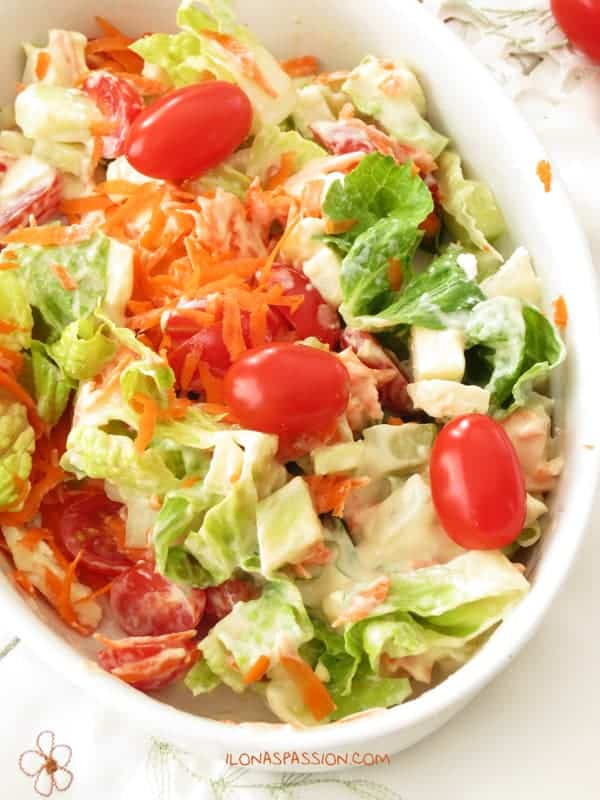 Healthy Feta Carrot Salad with Homemade Honey Mustard Dressing by ilonaspassion.com
