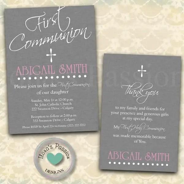 Beautiful Printable First Holy Communion Invitations for your next celebration by ilonaspassion.com I @ilonaspassion