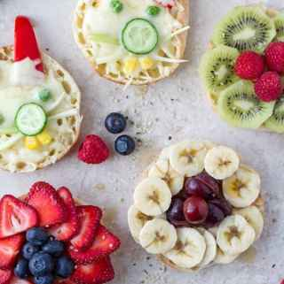Afternoon tea sandwiches made with english muffin into flowers and bunnies with different fruits and veggies by ilonaspassion.com I @ilonaspassion