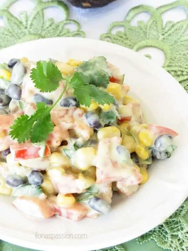 Mexican Salad with Avocado Dressing by ilonaspassion.com