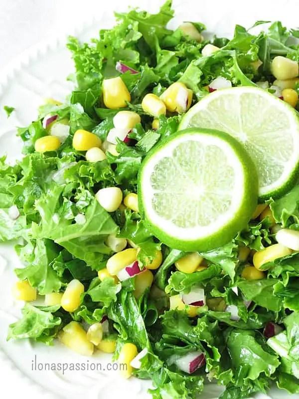 Crunchy Kale Salad with corn, onions and garlic by ilonaspassion.com #kalesalad #kale #recipe