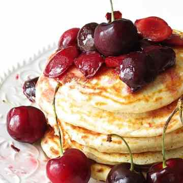 Pancakes with cherry lime sauce by ilonaspassion.com #pancakes #cherry #blackforest