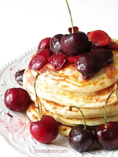 Pancakes with cherry lime sauce by ilonaspassion.com #pancakes #cherry #blackforest