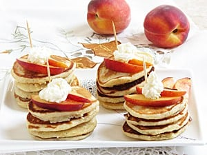 Peaches and Cream Mini Pancakes {Party Style}