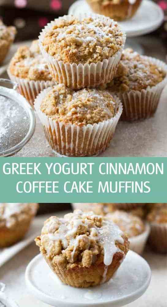 Greek yogurt cinnamon coffee cake muffins recipe with brown sugar streusel topping. Easy to make and great for brunch, served with coffee by ilonaspassion.com I @ilonaspassion