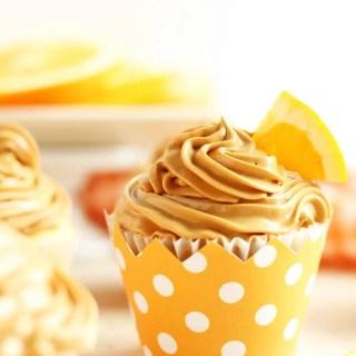 Orange Cupcakes with Dulce De Leche Buttercream