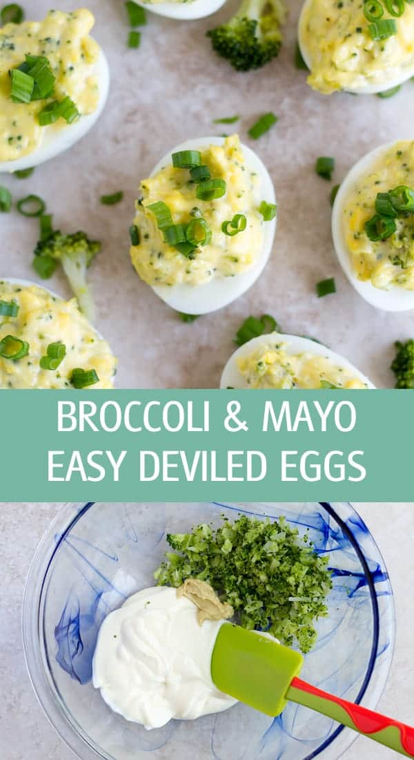 Easy deviled eggs stuffed with cooked broccoli florets and mayonnaise.