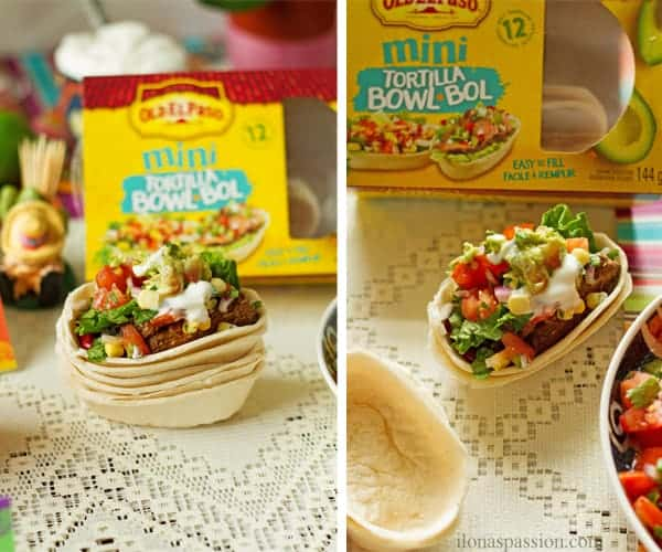 Mexican food recipes with Mini Old el Paso tortilla bowl with toppings.